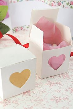 Set of 10pcs 2x2x2 with Heart Window Favor by LingsWedding on Etsy