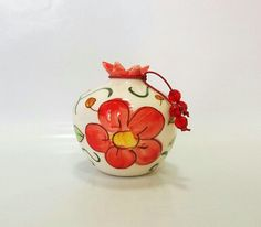 Red flower ceramic pomegranate by IoannasVeryCHic on Etsy, $18.00 Pomegranates, Red Flowers, Ceramic Pottery, Flower Pots, Candle Holders, Candles, Ceramics, Traditional, Cool Stuff