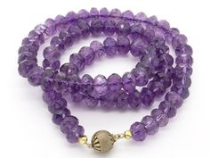 Premium Quality Genuine Amethyst 310 CTW & Sterling Silver Necklace 22 Inch, February Birthstone, Princess Length, Hand Cut Deep Natural Amethyst Beads at VintageArtAndCraft
