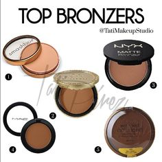 Tati Perez's top contouring bronzers: Avoid shimmer. They tend to show imperfections. 1. Smashbox Suntan Matte Bronzer 2. Too Faced Chocolate Soleil 3. NYX Matte Bronzer 4. Mac Blush in Blunt 5. Wet n Wild