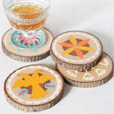 Use cool images like in the Britanica Encyclopedia DIY Wooden coasters. (via Design Sponge)