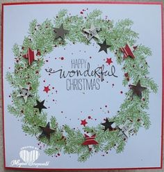 Magical Scrapworld: Christmas wreath, Stampin' Up!, warm wishes, Xmas Cards To Make, Stampin Up Christmas, Christmas Cards To Make, Holiday Cards, Christmas Wreaths, Christmas Crafts, Wondrous Wreath, Advent, Winter Cards
