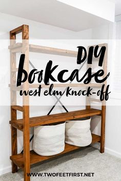 See how to make a West Elm knock-off bookshelf for a fraction of the cost. Sharing a step-by-step tutorial so that you can make this simple DIY bookshelf plus there are even plans. furniture plans How to build a simple bookshelf: West Elm Knock-Off Diy Furniture Plans Wood Projects, Easy Woodworking Projects, Plywood Furniture, Furniture Design, Diy Projects, Furniture Ideas, Furniture Stores, Building Furniture, Furniture Movers