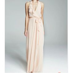 A-Line Halter Neck Floor Length Chiffon Bridesmaid Dress with Sash / Ribbon / Ruffles / Pleats by LAN TING Express - AU $152.19 ! Amazing item, amazing price! Catch it now from LightInTheBox > High Low Bridesmaid Dresses, Cheap Bridesmaid Dresses Online, Halter Neck, Sash, Ruffles, Chiffon, Ribbon, Floor, Amazing