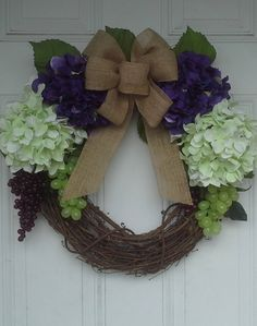 Purple And Light Green Hydrangea Wreath by NanewsCreations on Etsy