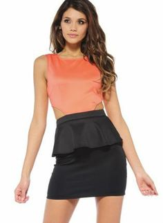 Coral and Black Contrast Cut Out Peplum Bodycon Dress,  Dress, Sleeveless, Chic