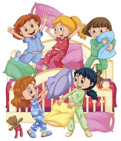 Girls playing pillow fight at slumber party vector art illustration