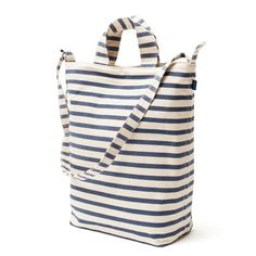 Baggu-DuckBag via Dwell. Great book bag - classic striped cotton canvas that is durable and attractive. Also comes in a few solid colors and a polka dotted option.