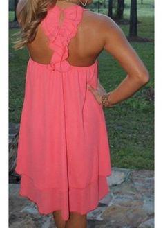 Round Neck Neon Pink Straight Chiffon Dress | modlily.com