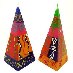 Set of Two Hand-Painted Pyramid Candles - Shahida Design - Nobunto Candles (South Africa) Romantic Candles, Unique Candles, Handmade Candles, Living Room Candles, Unique Candle Holders, Cool Gifts, Decorative Accessories, Artisan, Hand Painted