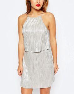 ASOS Petite | ASOS PETITE Exclusive Metallic Pleat Mini Dress with Crop Top Layer at ASOS