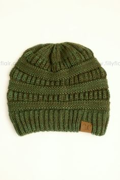 Cable Knit Beanie in Evergreen