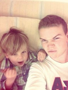 will poulter with is cute god son