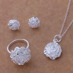 wholesale drop shipping wedding Silver Color Fashion jewelry Necklace  earrigns rings WT-189 #Affiliate