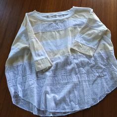 Gorgeous Free People cropped tee Gorgeous shirt for We the Free division of free people. Cotton and lace. Cream and white stripes. Worn once! Cropped oversized fit. Free People Tops Tees - Long Sleeve