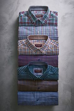 Check, Please: Perfect prints and button-down collars are ideal for layering. - Men's style, accessories, mens fashion trends 2020 Formal Shirts, Casual Shirts For Men, Men Casual, Men Shirts, Mens Designer Shirts, Designer Suits For Men, Tshirt Photography, Clothing Photography, Bespoke Shirts