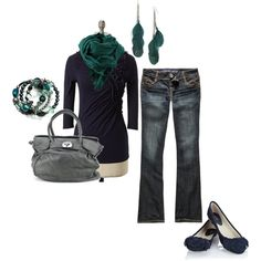 Fall outfit inspiration (Navy/Teal/Gray)