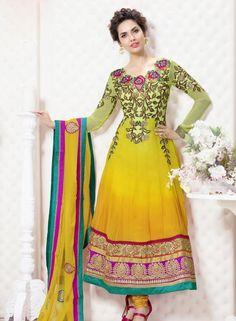 Buy Bollywood Designer Yellow Esha Gupta Anarkali With Chudidar $59.85 Shop at - bollywood-ankle-length-anarkali.blogspot.co.uk/2014/06/buy-bollywood-designer-yellow-esha.html