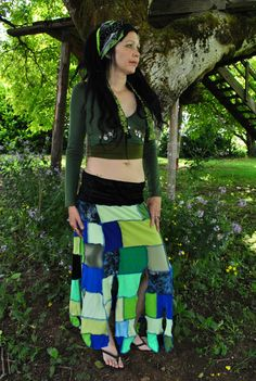 SALE Gypsy Skirt Pixie skirt Patchwork by IntergalacticApparel, $68.00