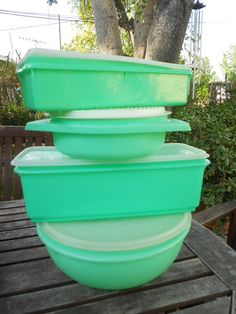Hey, I found this really awesome Etsy listing at http://www.etsy.com/listing/100579871/sale-vintage-green-tupperware-4-piece