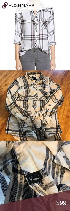 Rails Hunter Plaid black and white size XS Rails Hunter plaid NWOT size XS in black and white ! Rails Tops Button Down Shirts