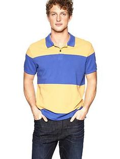 Wide striped rugby polo | Gap-blue yellow scheme