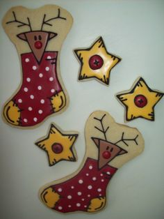 Rudolph / Stocking / Star Christmas cookies by Jillfcs