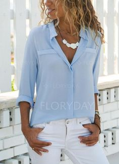 Lapel Long Sleeve Plain Elegant Blouses Fashion girls, party dresses long dress for short Women, casual summer outfit ideas, party dresses Fashion Trends, Latest Fashion # Cool Outfits, Fashion Outfits, Womens Fashion, Fashion Blouses, Fashion 2017, Fashion Shirts, Fashion Top, Preppy Outfits, White Fashion