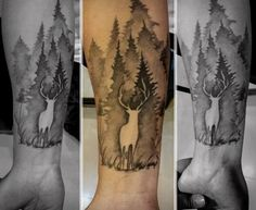 Negative Space Deer In Forest Mens Wrist Tattoos