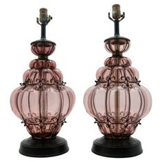 Check out this item at One Kings Lane! Caged Murano Glass Table Lamps, Pair