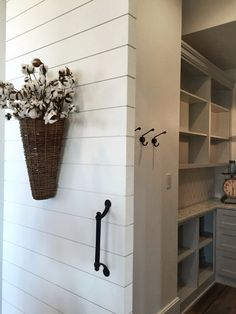 Shiplap for the outside of the pantry. Butlers Pantry with Shiplap Barn Door - Farmhouse Street of Dreams Coastal Farmhouse, Modern Coastal, Coastal Decor, Farmhouse Style, Farmhouse Decor, Modern Farmhouse, City Farmhouse, Coastal Entryway, Door Entryway