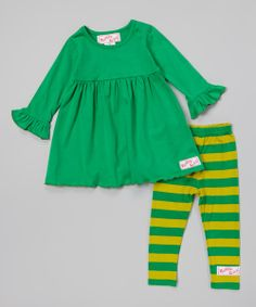 Take a look at the Lime Green & Green Dress & Leggings - Infant, Toddler & Girls on #zulily today!