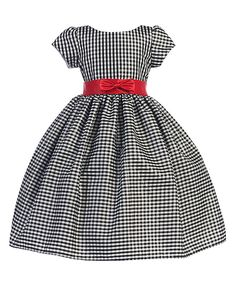 Look at this Silver & Red Plaid Bow Dress - Toddler & Girls on #zulily today!