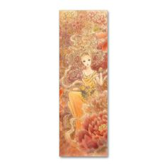 Feng Shui - Fantasy Art - Peony, Peaches and Goldfish - Abundance - Bookmark Business Card template