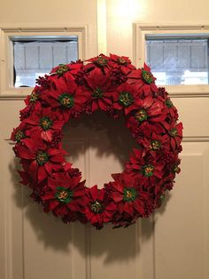 Poinsettia Pine Cone Wreath