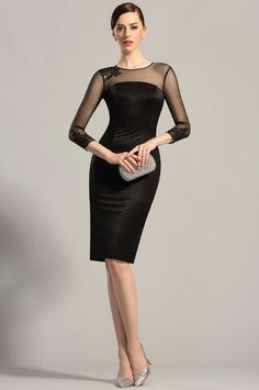 Long Sleeves Sheer Top Little Black Dress Cocktail Dress  #edressit #black_dress #fashion