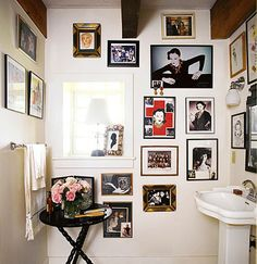 photos in the bathroom. Marian Mcevoy's bathroom in Domino Mag