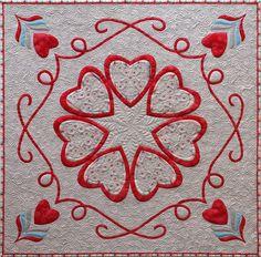 """Grand Coeur, 41"""" sq, 2014, by Sampaguita Quilts"""