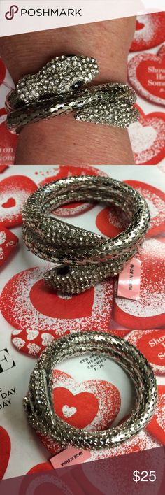 Silver Coiled Snake Bracelet. NWT❤ Silver Coiled Snake jeweled with stones. Great Piece!❤ Jewelry Bracelets