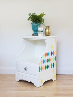 """I had never played around with stenciling furniture (or anything else) before, so I was excited when Porch invited me to participate in their 7 Days of Stencils challenge. Now, I'm convinced--stencils are the easiest way to update your furniture! Our simple little nightstand has so much more personality now, with some color and pattern on it's side."" - Painted Nightstand DIY - Harlequin Furniture Stencils by Royal Design Studio"