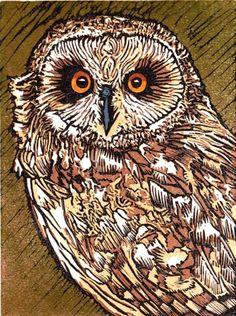 Short Eared Owl. Linocut  15cm x 20cm 12 of 20 remaining,  £30 unframed.