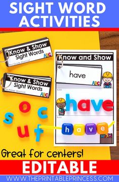 These editable sight word activities are great for your literacy centers! Students will love using them during word work or small groups to practice reading and identifying common words! Use manipulatives in your classroom to add to the fun!