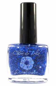 Cornflower Nail Polish www.chloeandbella.com Cornflower is a striking blue sheer crelly base that contains square dark and medium blue glitters, micro fine super-sparkly silver glitter, and a light sprinkling of small white dot glitter.