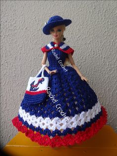 #Doll #Crochet #Vestido #Dress #Barbie #Chapéu #Hat #RaquelGaucha #Bolsa #Purse