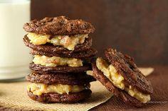 Award Winning German Chocolate Cake Sandwich Cookies - chewy chocolate coconut pecan cookies with coconut pecan filling