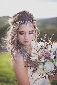 boho chic wedding hairstyles with bridal headpieces