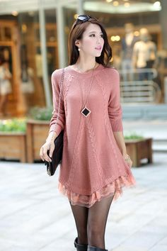 Discover thousands of images about Round Neck Long Sleeve Lace Side Women Sweater Long Sweater Dress, Knit Dress, Loose Sweater, Sweater Jacket, Dress Long, Knit Cardigan, Long Sweaters, Sweaters For Women, Crochet Clothes