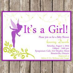 tinkerbell fairy custom baby shower invitation favors  custom, Baby shower