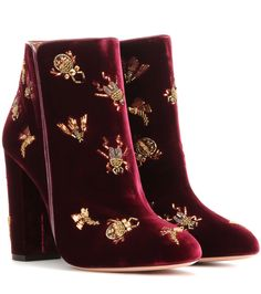 Aquqzurra - Fauna 105 embellished velvet ankle boots - Aquazzura's Fauna 105 ankle boots make an instant style statement. The bordeaux velvet pair is finished with insect embellishments all over for a whimsical, sparkling twist on the classic silhouette.