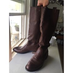 Brown Leather Boots Soft brown leather boots with back zipper. Great condition except some scuffs on side and toe. Hits right bellow knee. Worn a handful of times. Brand sold by Nordstroms. Bucco Capensis Shoes Winter & Rain Boots